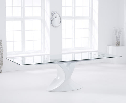 Murcia 180 – 260cm Extending White Tempered Glass Dining Table