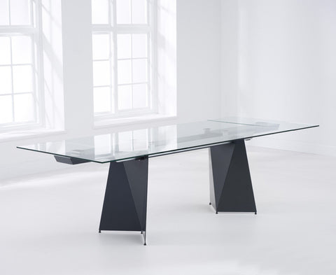 Cape Verdi 180 – 260cm Extending Grey Tempered Glass Dining Table with Metal Legs