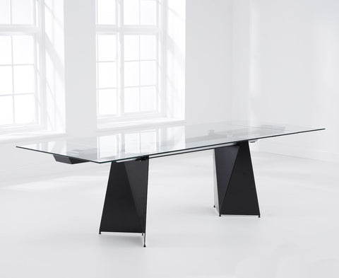 Cape Verdi 180 – 260cm Extending Black Glass Dining Table