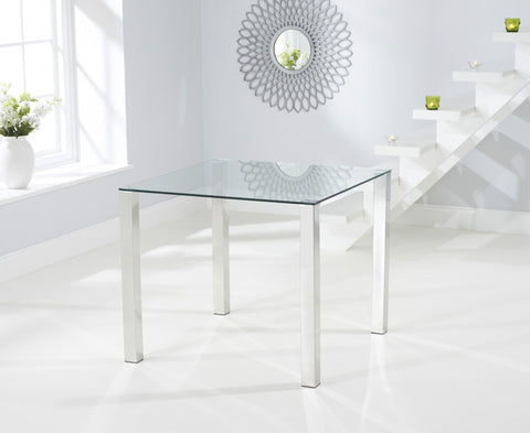 Sara Tempered Glass Dining Table with Chrome Legs