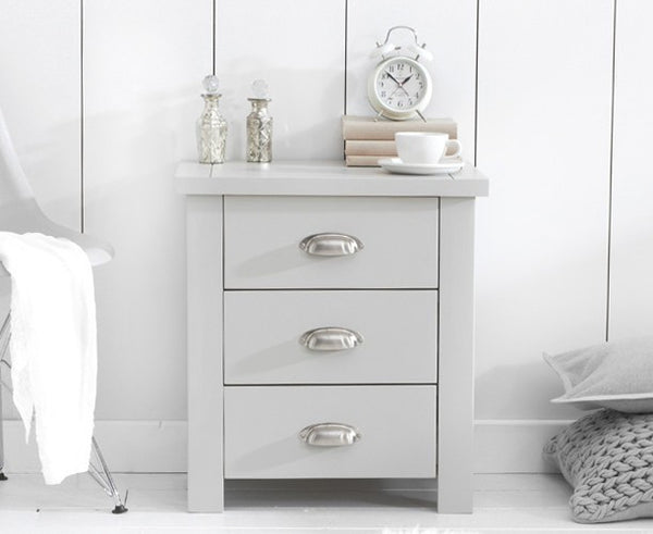 Sandringham Grey 3 Drawer Nightstand