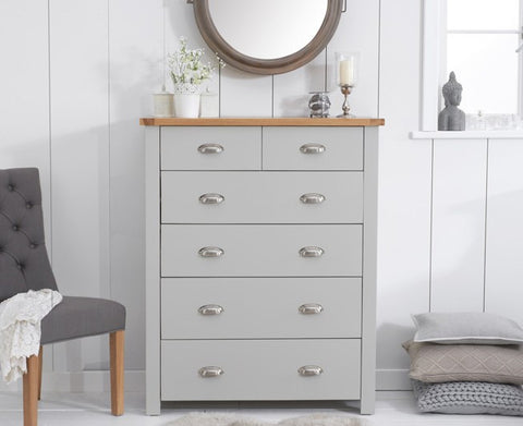 Sandringham Oak and Grey 4 + 2 Drawer Chest