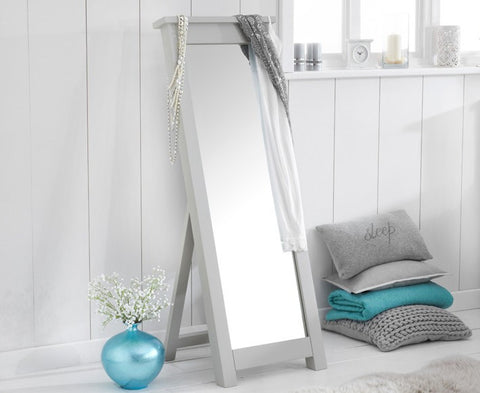 Sandringham Solid Oak Hardwood Grey Cheval Mirror