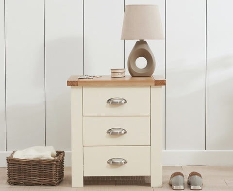 Sandringham Oak and Cream 3 Drawer Nightstand