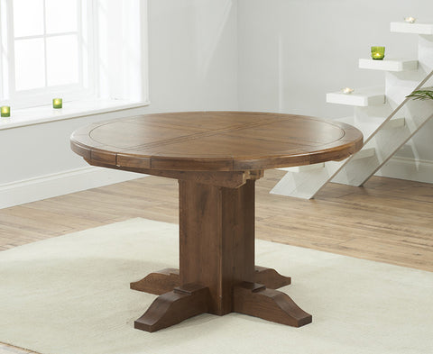 Turin 125cm Dark Solid Oak Round Extending Dining Table