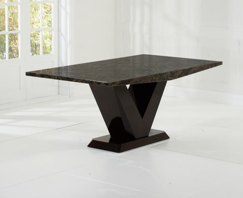 Valencie 180cm All Brown Marble Dining Table