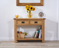 York 100cm Oak Console Table with 2 Drawers