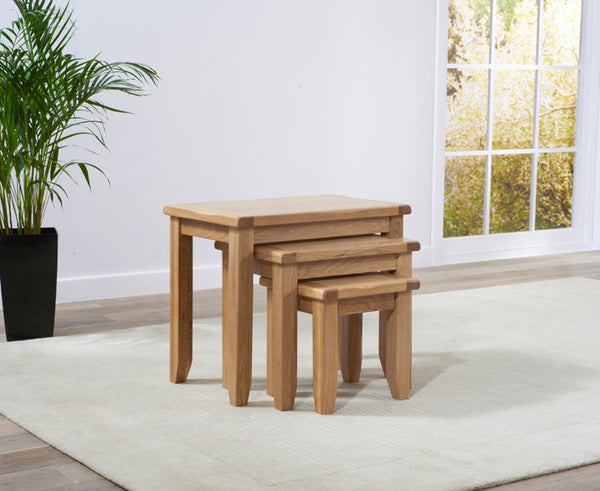 York Oak 3 Piece Nest Tables
