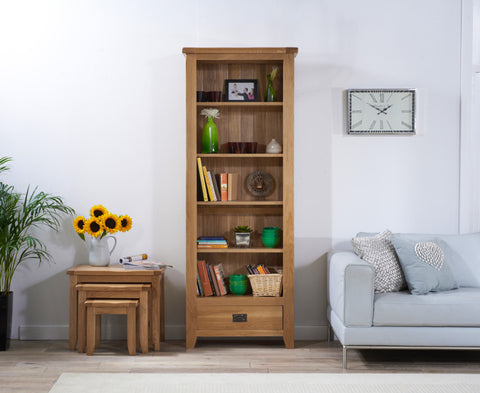 York Solid Oak Bookcase with 5 shelves and 1 Drawer