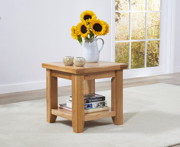York Solid Oak Lamp Table
