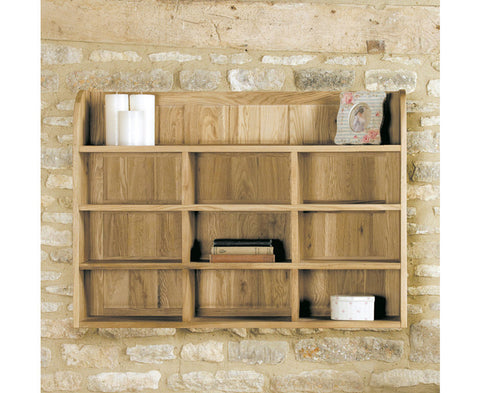 Mobel Solid Oak Reversible Wall Rack Storage Unit