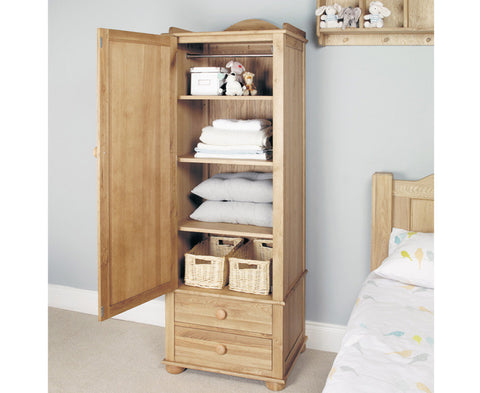 Amelie Solid Oak Childrens Single Wardrobe No Assembly Required