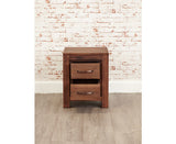 Mayan Solid Walnut Two Drawer Lamp Table Cabinet