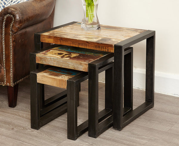 Urban Chic Indian Reclaimed Wood Nest of Tables