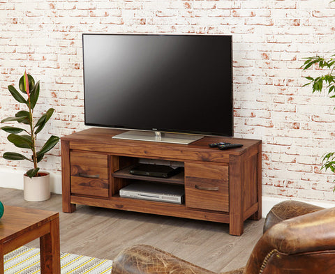Mayan Solid Walnut Low Widescreen Television Cabinet