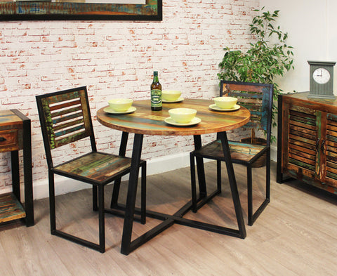 Urban Chic Round Reclaimed Wood Dining Table