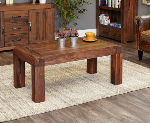 Shiro Walnut Medium Open Coffee Table Solid Wood Furniture
