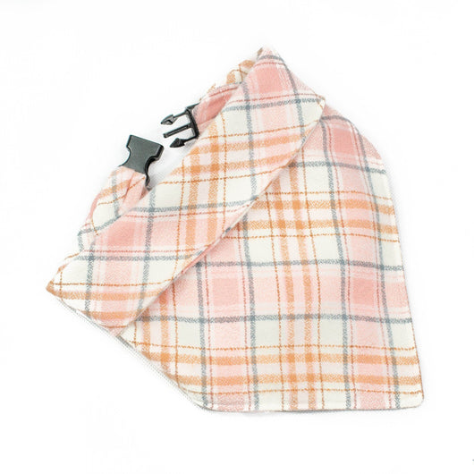 The Blush Pink Plaid Dog Bandana