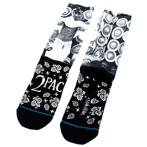2PAC Socks (Black and White) - Accessories 2PAC OFFICIAL MERCHANDISE STORE - T-SHIRT - ALBUMS - LYRICS - CHANGES - MOVIE - MERCH - QUOTES - TUPAC - POEMS - POETRY
