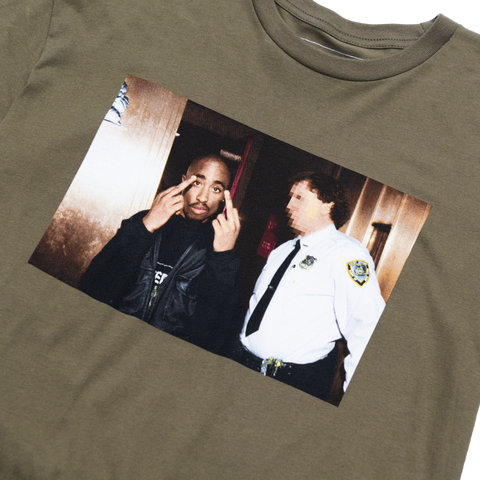 Cop Photo T-shirt (Green) - Apparel 2PAC OFFICIAL MERCHANDISE STORE - T-SHIRT - ALBUMS - LYRICS - CHANGES - MOVIE - MERCH - QUOTES - TUPAC - POEMS - POETRY