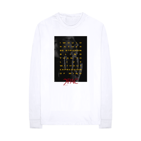 Expression of Mind Longsleeve T-shirt (White) - Apparel 2PAC OFFICIAL MERCHANDISE STORE - T-SHIRT - ALBUMS - LYRICS - CHANGES - MOVIE - MERCH - QUOTES - TUPAC - POEMS - POETRY