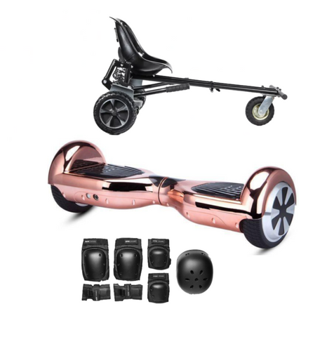 App Enabled Bluetooth Hoverboard + Hoverkart Bundle - Chrome Rose - ihoverkart