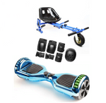 App Enabled Bluetooth Hoverboard + Hoverkart Bundle - Chrome Blue - ihoverkart