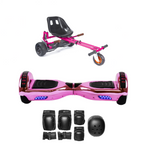 2018 Black Friday App Enabled Bluetooth Hoverboard + Hoverkart Bundle - Chrome Pink - ihoverkart