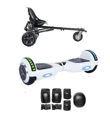 2018 Black Friday App Enabled Bluetooth Hoverboard + Hoverkart Bundle - White - ihoverkart