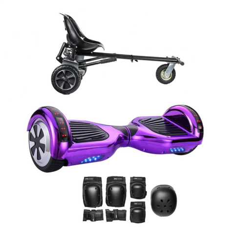 2018 Black Friday App Enabled Bluetooth Hoverboard + Hoverkart Bundle - Chrome Purple - ihoverkart