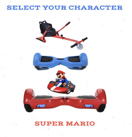 2019 SUPER MARIO -  6.5 Red classic Swegway Hoverboard + Red  Hoverkart Bundle Deal + Blue Protective case - ihoverkart