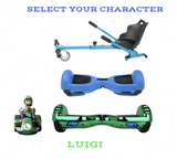 2019 SUPER MARIO LUIGI -  6.5 Green classic Swegway Hoverboard + Blue Hoverkart Bundle Deal + Blue Protective case