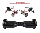UNLEASH THE RACER IN YOU!! -- Racer Steering Wheel Hoverkart + Hoverboard Bundle - Black