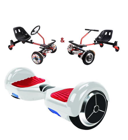 UNLEASH THE RACER IN YOU!! -- Racer Steering Wheel Hoverkart + Hoverboard Bundle - White