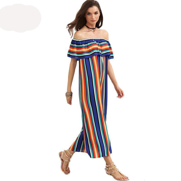Beach Casual Long Dresses Multicolor Striped Off The Shoulder Ruffle Dresses