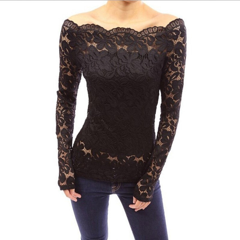 Women Off Shoulder Slash Neck Lace Crochet Shirts Slim Tops - Kind Unity