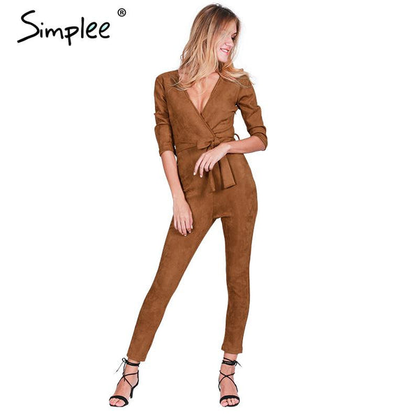 Deep V Neck Suede Bodycon Jumpsuits - Kind Unity