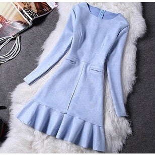 Fashion Women Dress Long Sleeve Suede Party Dresses - Kind Unity