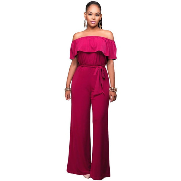Women Jumpsuits Sexy Off Shoulder Ruffle Belted - Kind Unity