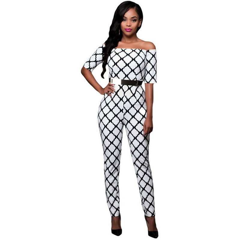 Women Elegant Jumpsuits  Print Black Belted Off Shoulder - Kind Unity