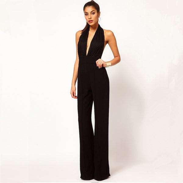 Halter-neck Sleeveless Straight Trousers Jumpsuits - Kind Unity