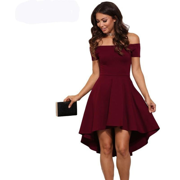 Elegant Party Dresses Burgundy Off Shoulder