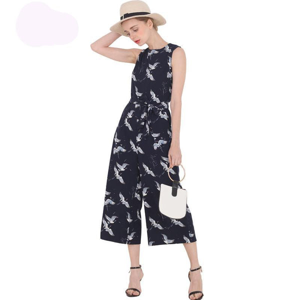 Bird Print O-neck sleeveless sashes ankle-length Jumpsuits - Kind Unity