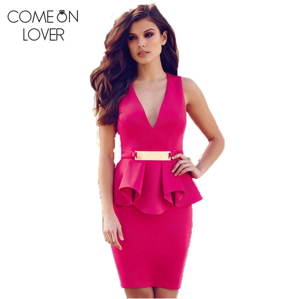 Hot Peplum Solid Robe Party Dress Woman Plus size Deep V-Neck Bodycon Dresses