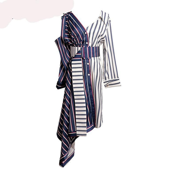 Asymmetrical Shirt Dress Women Off Shoulder Striped Sexy Dresses - Kind Unity