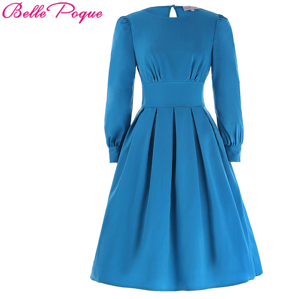 Long Sleeves Deep Cute Tunic Clothes Retro 50s Robe Rockabilly Party Dresses