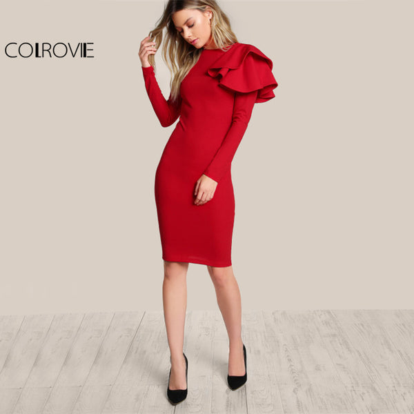Elegant Bodycon Party Dresses  One Side Tiered Ruffle Cute Long Sleeve Dresses