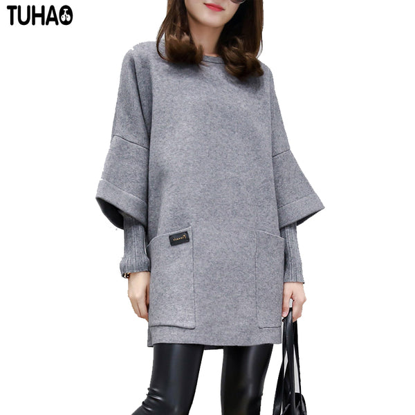 Warm Loose Long Women Casual Dress Winter Autumn Plus Size Dresses