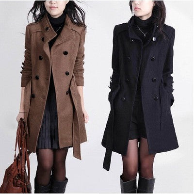 Women Trench Woolen Coats Winter Slim Double Breasted Overcoat - Kind Unity