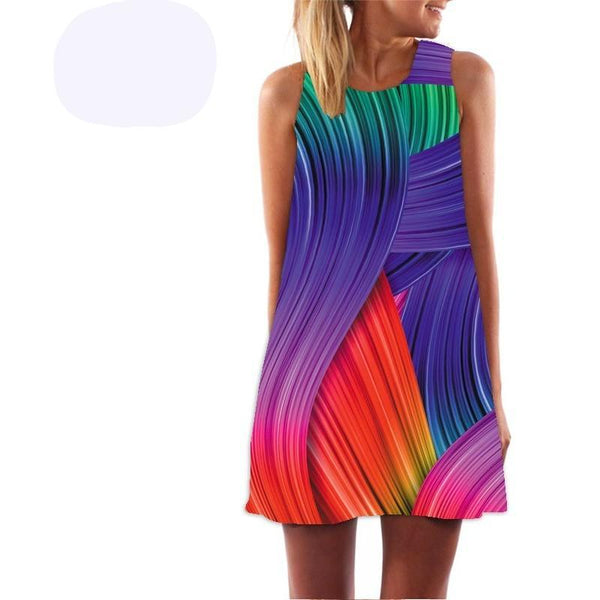 Casual Chiffon O-Neck Colours Print Sleeveless Party Dresses - Kind Unity